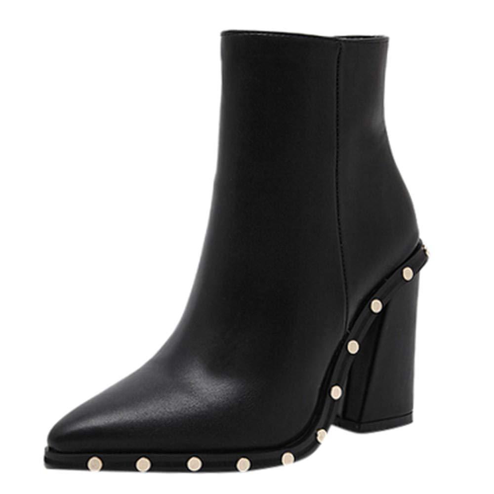 Robemon♚Élégant Chaussures Femme Talon Carre Hiver Rivets Cuir Bottes Fille Haute Loisirs Martens Boots À Veau Imprimé Léopard Talons Bottines
