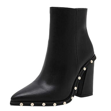 e8c0f9a2dd379 Robemon♚Chic Hiver Chaussures Femme Talon Carre Bottes de Neige Faible Daim  Chaud Peluche Boots ...