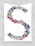 XHFITCLtd Letter S Tapestry, Capital Letter S Consisting of Various Colored Shaped Butterflies Exotic Animals, Wall Hanging for Bedroom Living Room Dorm, 60 W X 80 L Inches, Multicolor