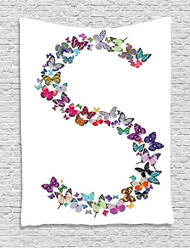 XHFITCLtd Letter S Tapestry, Capital Letter S Consisting of Various Colored Shaped Butterflies Exotic Animals, Wall Hanging for Bedroom Living Room Dorm, 60 W X 80 L Inches, Multicolor by XHFITCLtd