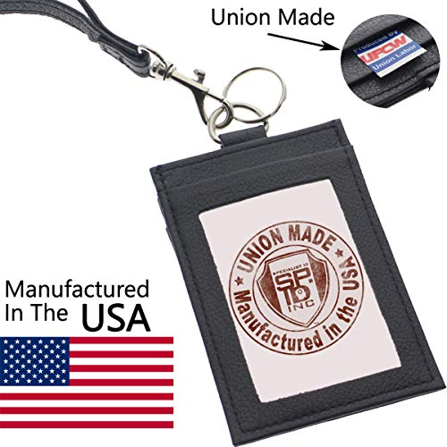 Union Made Leather Badge Holder - USA Manufactured Heavy Duty Four Pocket ID Badge Wallet with Lanyard by Specialist ID