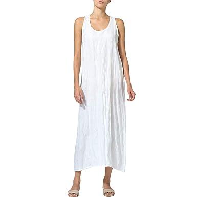 Maxi Longue Femme Sans Et Lin Sexy Casual Ete Mode Robe Coton Chic 354LAjR