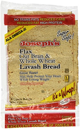 Pita Low Bread Carb - Joseph's Lavash Bread Flax Oat Bran & Whole Wheat Reduced Carb - 4 Square Breads