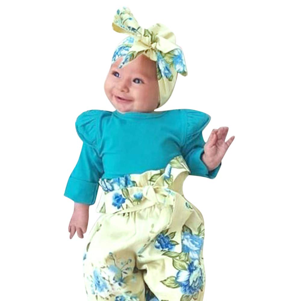 NUWFOR Infant Baby Long Sleeve Solid Romper Jumpsuit+Floral Print Pants Outfits(Green,3-6Months