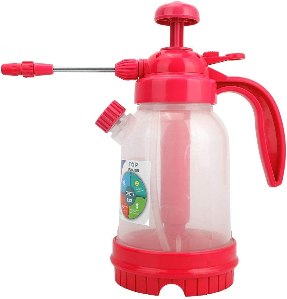 Hand Held Garden Sprayer Water Pump Pressure Sprayers 1.8L Portable Yard & Lawn Sprayer Adjustable Nozzle for Spraying Weeds/Watering/Home Cleaning/Car Washing(Rose red)
