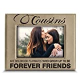 BELLA BUSTA -Cousins-Forever Friend Picture Frame-Great Gift for Best Cousin Birthday for Cousin -Engraved Leather Picture Frame (5'x 7' Horizontal)