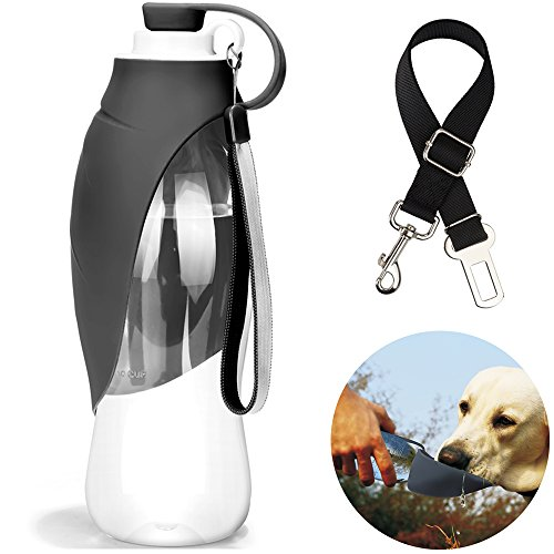 manba Portable Water Bottle for Dog Travel 20 OZ Leak-Proof Feeding Mug with Silicone Flip-Up Leaf Include Pet Seat Belt (Grey)