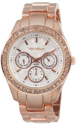 Jade LeBaum Womens Rose Gold Boyfriend Watch Chunky Bracelet White Dial Big Face Crystal Bezel JB202732G