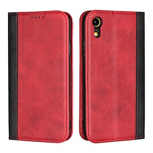 LITBRIAN iPhone XR ケース 手帳型 ベルト無し マグネット 蓋ピタッ スマホケース カード収納 ワイヤレス充電対応 マグネット スタンド機能 耐衝撃 指紋防止 高品質レザーケース(Bワインレッド)