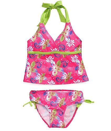 Pink Platinum Little Girls 2-Piece Pink and Green Halter Tankini Swimsuit - 4