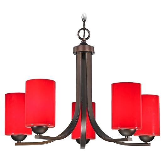 Amazon.com: Bronce – Lámpara de techo con pantallas de ...