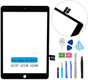 """T Phael Black Touch Screen Digitizer Repair Kit for iPad 10.2"""" 2019 iPad 7 7th Gen A2197 A2198 A2200 (Without Home Button,not Include LCD) + Tools"""