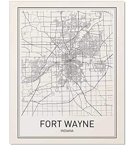 - Fort Wayne Poster, Fort Wayne Map, Map of Fort Wayne, City Map Posters, Map Art, City Prints, Scandinavian Art, Minimal Print, Map Poster, City Map Wall Art, Minimalist Posters, 8x10