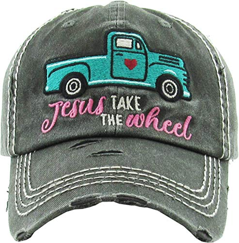 Funky Junque Womens Baseball Cap Distressed Vintage Unconstructed Embroidered Dad Hat (Jesus Take The Wheel - Black)