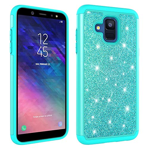 Aiyze Compatible Samsung Galaxy A6 Case,Galaxy A6 2018 Protective Cover [Heavy Duty] Tough Dual Layer 2 in 1 Rugged Rubber Silicone Hybrid Hard Plastic Soft TPU Impact Back Glitter Powder Bling Green