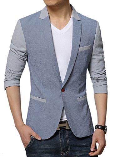 Liveinu Men's Slim Fit Stylish Peaked Lapel Blazer Jacket Blue 2XL