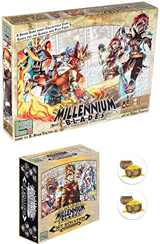 BUNDLE of Millenium Blades Base Game and Set Rotation Expansion Plus 2 Treasure Chest Buttons by Mixed (Image #1)