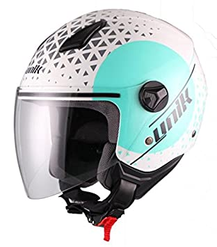 Unik Casco Jet CJ-16 Oracle Blanco y Azul turquesa (S)