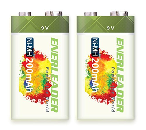 Enerleader 2 Pieces of High Capacity 9V 200mAh NiMH Rechargeable Batteries Long-lasting Performance 200 Mah Nickel Metal