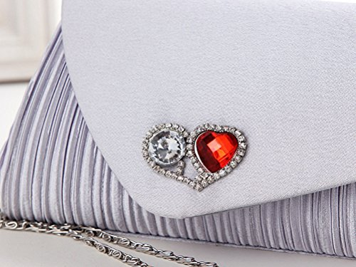 Shoulder Gemstones Party Demarkt Ladies Bag Womens in Silvery Purse Evening Wedding Satin Grey Heart Crystal Bag Peach Shape Diamante Clutch Hand Cover Pleated r6TxrdH