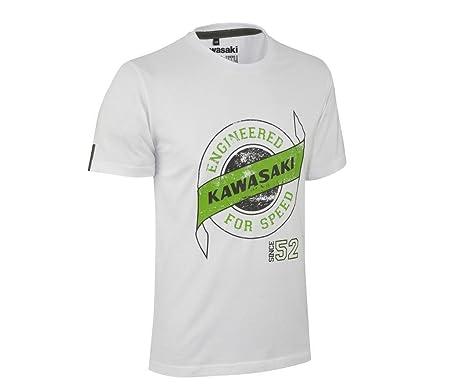Kawasaki 1952 Retro Speed Kurzarm T Shirt Herren Kurzarm Sport Shirt Weiss Grun