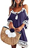 LeaLac Womens Fashion Summer Casual 3/4 Sleeve Cold Should Loose Tassel Mini Dress Casual Tunic Blouse L20-DLiusu Purple XXXXXL