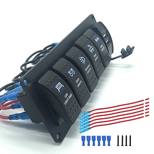 IZTOSS Boat Rocker Switch Panel 6 Gang Car RV Marine Rocker Switches With 3.1A Dual USB Charger 12V 24V Blue LED Light ()