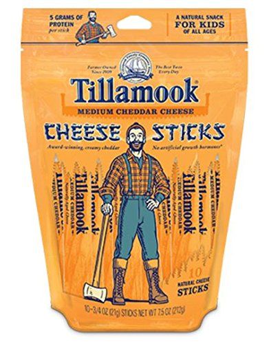 Tillamook Medium Cheddar Cheese Sticks 7.5 Oz (Pack of 4)