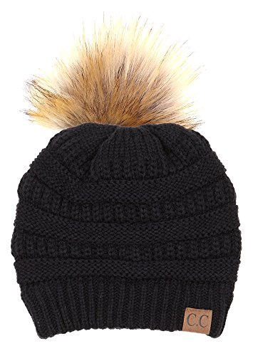 Funky Junque CC Solid Ribbed Beanie with Pom – Winter Hat – Skull Cap