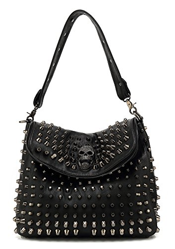 Scarleton Studded Skull Shoulder Bag H141701 - Black ()