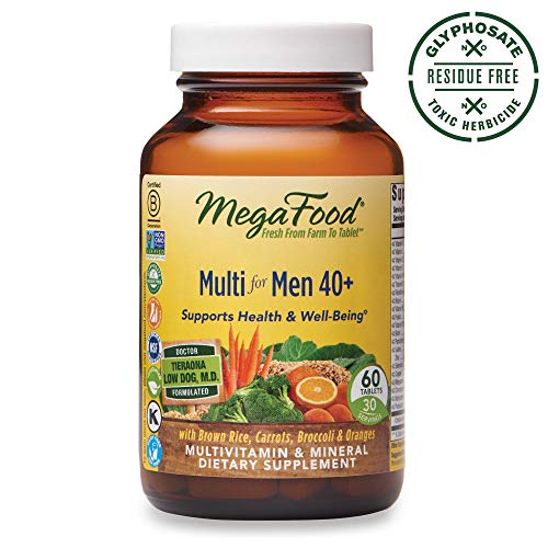 MegaFood, Multi for Men 40 , Supports Optimal Health and Wellbeing, Multivitamin and Mineral Supplement, Gluten Free, Vegetarian, 60 Tablets 30 Servings