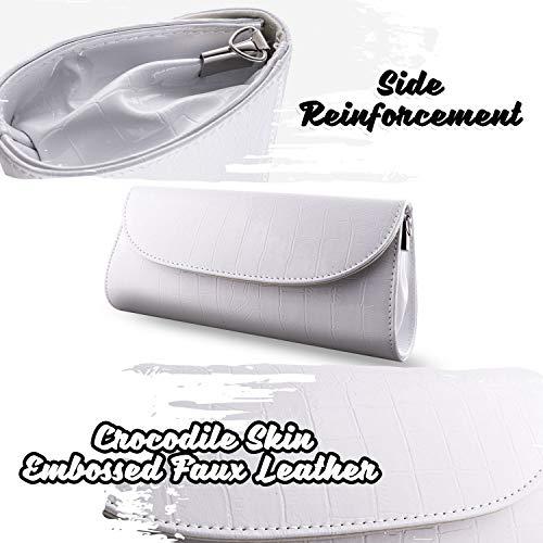 Bundle Monster Womens Envelope Evening Patent Croc Skin Embossed Clutch - WHITE by Bundle Monster (Image #3)