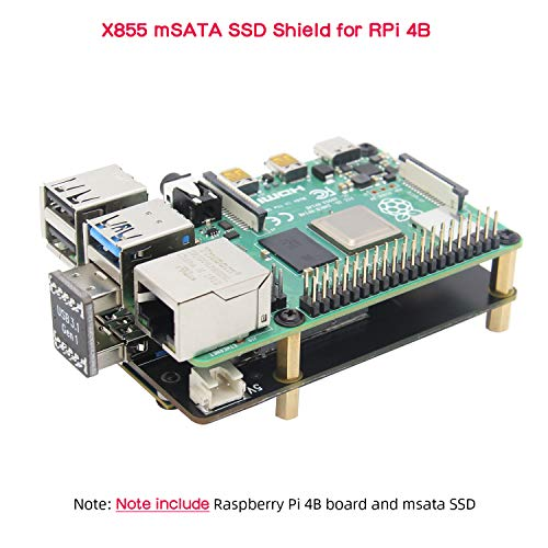 Geekworm Raspberry Pi 4 mSATA Storage, Raspberry Pi 4 Model B mSATA SSD Expansion Board X855 USB3.0 Shield Compatible with Raspberry Pi 4B Only