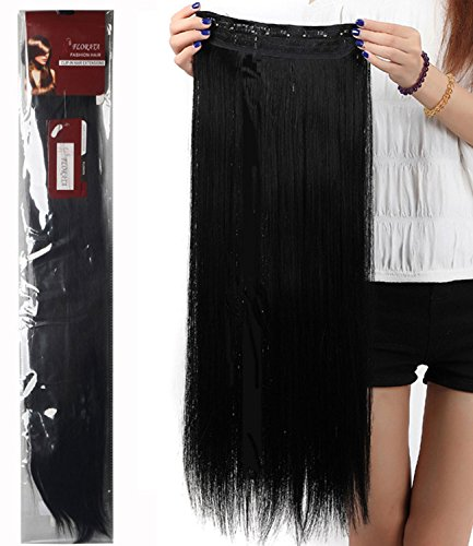 26 Inches Long Straight Fashion Synthetic Hair Extensions Hairpieces 5 Clips in Hairpieces Wig Sexy Lady Cosplay Party Women Sexy Lady Beauty Hair Care Dark Black from Haironline
