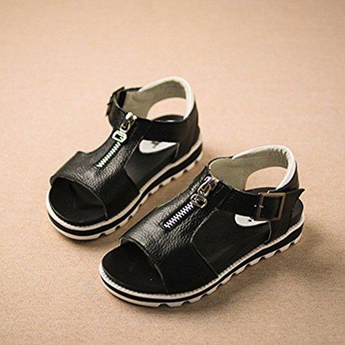 Scothen Niñas sandalias zapatos sandalias de playa de verano cremallera sandalias romanas sandalias niños flip-flop zapatillas de deporte zapatos la princesa bailarina sandalias zapatos casuales Black