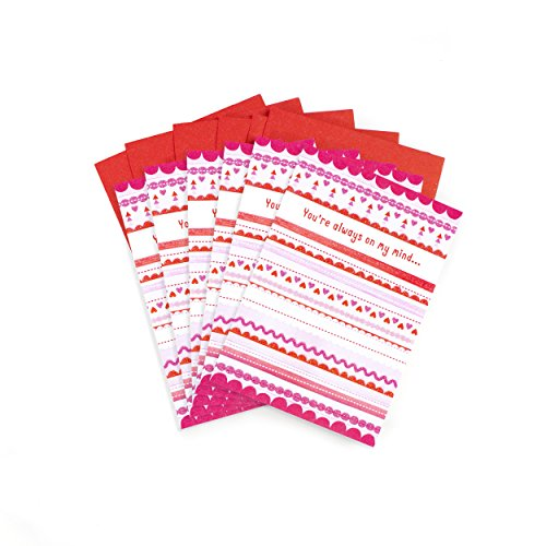 Hallmark Valentines Day Cards Pack, Patterned Stripes (6 Valentine's Day Cards with Envelopes)