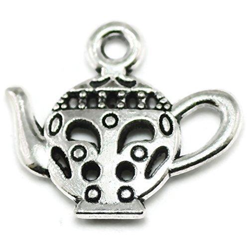 20 Teapot Charms silver tone