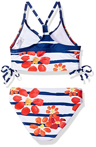 Jantzen Big Girls' Little Neo Nautical Floral Cinched Bikini, Floral Stripe, 10 by Jantzen (Image #2)