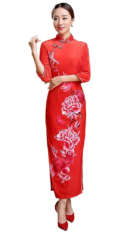 YL Women's 3/4 Sleeve Chinese Red Wedding Cheongsam Velvet Bodycon Dress Qipao