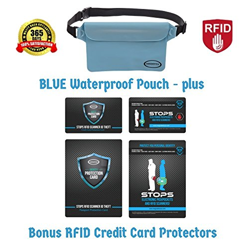 Magnatek Smart Waterproof BLUE Pouch-Keep Your Phone and Valuables Safe and Dry-Plus Credit Card Protector for your Wallet/Purse and a Passport ID Protector-Keep your Identity Safe from Cyber Scammers