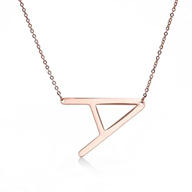 amazoncom yiyiprincess rose gld large initial letter necklace sideways letter necklace in stainless steel gift for her a jewelry