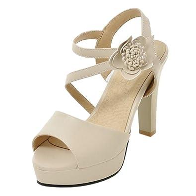 TAOFFEN Damen Peep-Toe Mules Sandalen Heels