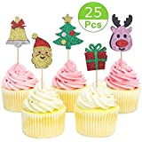 Sakolla 25 Pieces Glitter Christmas Cupcake Toppers Christmas Santa Claus Cupcake Toppers for Christmas Party Decorations Supplies
