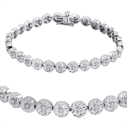 AGS Certified 1/2ct Diamond Tennis Bracelet in Sterling Silver 7 inch
