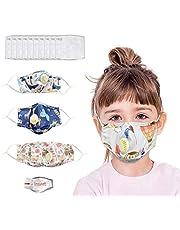 IUTE 5 𝐌𝐚𝐬𝐜𝐚𝐫𝐢𝐥𝐥𝐚𝐬 Algodon Reutilizables con 10 Reemplazable PM2.5 Filtros para niños, 𝐌𝐚𝐬𝐜𝐚𝐫𝐢𝐥𝐥𝐚𝐬 Tela Lavable de Algodón Suave y semicara, Lavable