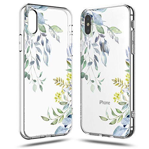 iPhone XR Case,Girls Women Cute Spring Eucalyptus Bahama Leaves Love Summer Tropical Palm Tree Yellow Blue Flowers Floral Chic Trendy Simple Hawaii Beach Clear Rubber Case Compatible for iPhone -