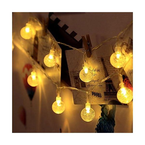 Ibello Catena luminosa Solare Stringa di Luci 6 Metri 30 Palline LED Impermeabile Energia Solare Bulbo Luminoso Luce Bianca Calda 8 Modalità Decorativa da Festa Giardino Gazebo (Bianco Caldo) 4 spesavip