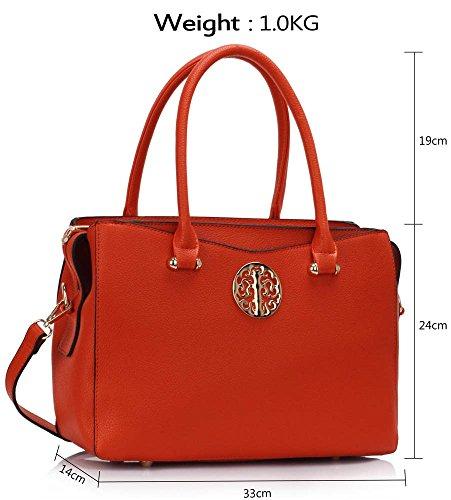 College Women's Grab Ladies Designer School Handbag Tote CWS00291 Tote Trendy Orange Elegant Fashion Bags XEqEvR