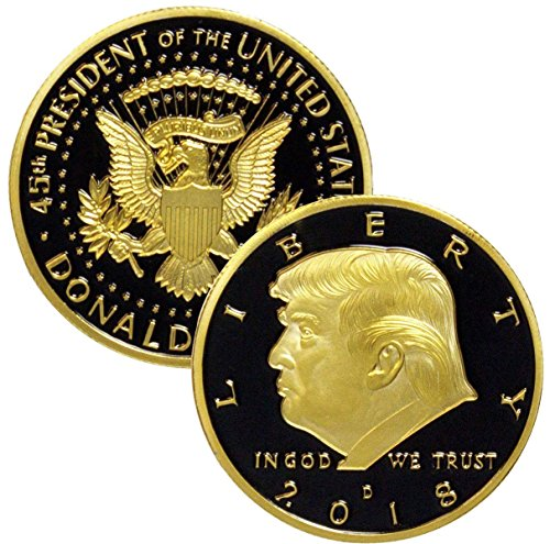 (Donald Trump Gold & Black Coin 2018, 24K Gold Plated Collectible Eagle Coin,Commemorative Coin & Fit Display Case 45th President of the United States)