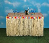 "REALISITIC RAFFIA GRASS TABLE SKIRT DECORATION FOR HAWAIIAN THEMED CELEBRATIONS AND LUAU PARTIES | RECTANGULAR | 9' LONG 29"" LOW"